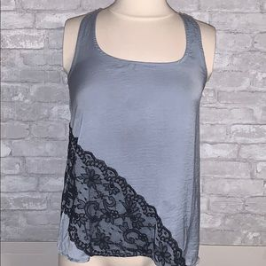 AQUA light blue/gray tank with black lace detail